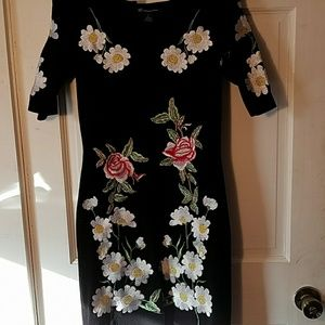 INC embroidered dress, short stretchy